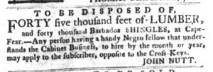 Mar 15 1770 - South-Carolina Gazette and Country Journal Supplement Slavery 7