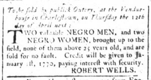 Mar 16 1770 - South-Carolina and American General Gazette Supplement Slavery 2