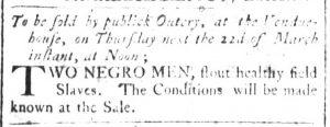 Mar 16 1770 - South-Carolina and American General Gazette Supplement Slavery 5