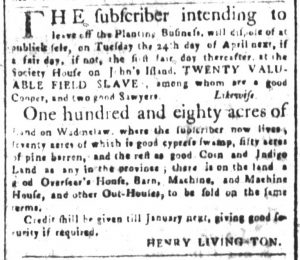 Mar 16 1770 - South-Carolina and American General Gazette Supplement Slavery 6