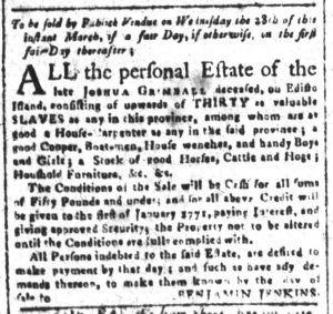 Mar 16 1770 - South-Carolina and American General Gazette Supplement Slavery 8