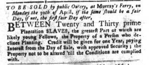 Mar 20 1770 - South-Carolina Gazette and Country Journal Slavery 3