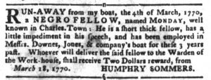 Mar 20 1770 - South-Carolina Gazette and Country Journal Slavery 5