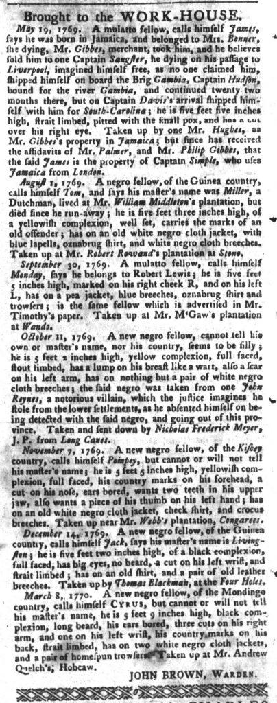 Mar 20 1770 - South-Carolina Gazette and Country Journal Slavery 9