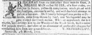 Mar 21 1770 - Georgia Gazette Slavery 6