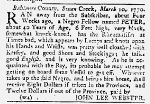 Mar 22 1770 - Maryland Gazette Slavery 1