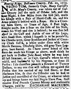 Mar 22 1770 - Maryland Gazette Slavery 5