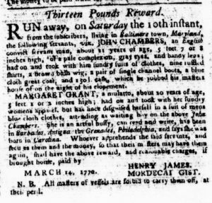 Mar 22 1770 - Virginia Gazette Purdie & Dixon Slavery 1