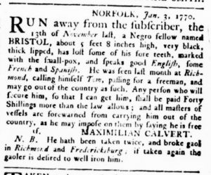 Mar 22 1770 - Virginia Gazette Supplement Rind Slavery 3