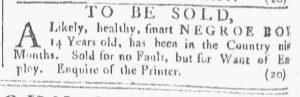 Mar 24 1770 - Providence Gazette Slavery 1