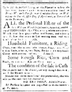 Mar 26 1770 - South-Carolina and American General Gazette Slavery 1