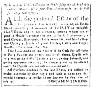 Mar 26 1770 - South-Carolina and American General Gazette Slavery 4