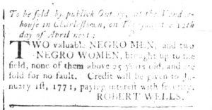 Mar 26 1770 - South-Carolina and American General Gazette Slavery 8