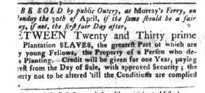 Mar 27 1770 - South-Carolina Gazette and Country Journal Slavery 1