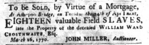 Mar 27 1770 - South-Carolina Gazette and Country Journal Slavery 2