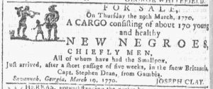 Mar 28 1770 - Georgia Gazette Slavery 10