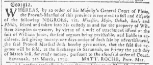 Mar 28 1770 - Georgia Gazette Slavery 5