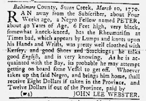 Mar 29 1770 - Maryland Gazette Slavery 1
