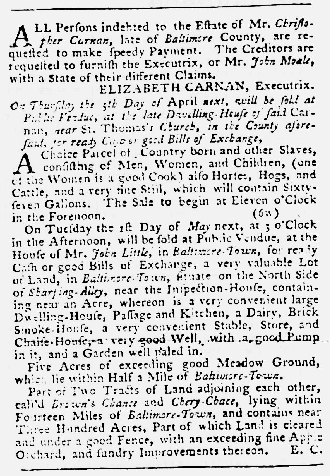 Mar 29 1770 - Maryland Gazette Slavery 3