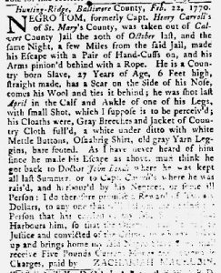 Mar 29 1770 - Maryland Gazette Slavery 4