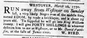 Mar 29 1770 - Virginia Gazette Rind Slavery 1