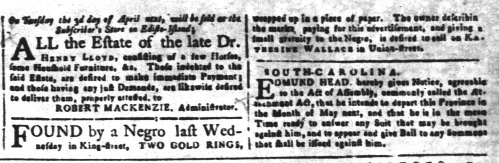 Mar 30 1770 - South-Carolina and American General Gazette Slavery 2