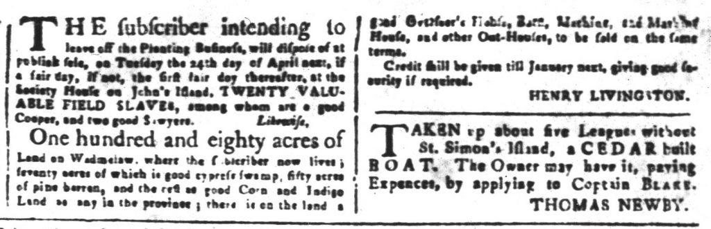 Mar 30 1770 - South-Carolina and American General Gazette Slavery 7