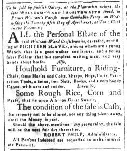 Mar 30 1770 - South-Carolina and American General Gazette Slavery 8