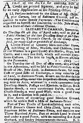 Mar 8 1770 - Maryland Gazette Slavery 1