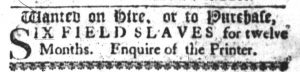 Mar 8 1770 - South-Carolina Gazette Slavery 1