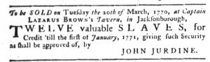 Mar 8 1770 - South-Carolina Gazette Slavery 7