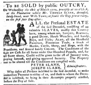 Mar 8 1770 - South-Carolina Gazette Slavery 8