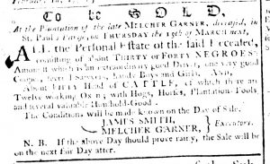 Mar 8 1770 - South-Carolina Gazette Supplement Slavery 1