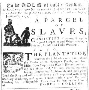 Mar 8 1770 - South-Carolina Gazette Supplement Slavery 8