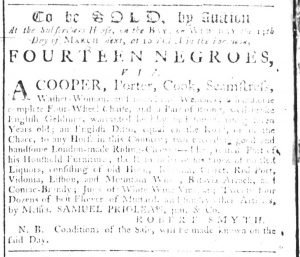 Mar 8 1770 - South-Carolina Gazette Supplement Slavery 9