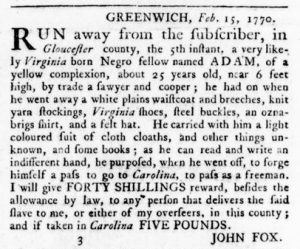 Mar 8 1770 - Virginia Gazette Rind Slavery 4