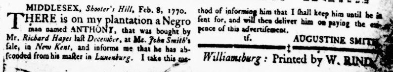 Mar 8 1770 - Virginia Gazette Rind Supplement Slavery 1