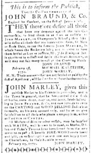 Mar 9 1770 - South-Carolina and American General Gazette Slavery 4