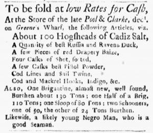 Oct 1 1770 - Boston Evening-Post Slavery 1