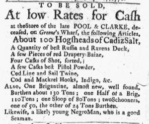 Oct 1 1770 - Massachusetts Gazette and Boston Post-Boy Slavery 1