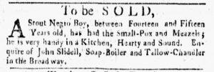 Oct 1 1770 - New-York Gazette and Weekly Mercury Slavery 2
