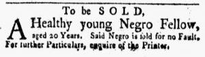 Oct 1 1770 - New-York Gazette and Weekly Mercury Slavery 5