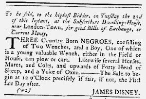 Oct 11 1770 - Maryland Gazette Slavery 1