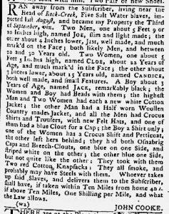Oct 11 1770 - Maryland Gazette Slavery 2