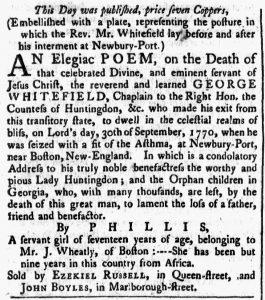 Oct 11 1770 - Massachusetts Spy Slavery 1
