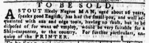 Oct 11 1770 - Pennsylvania Gazette Slavery 1