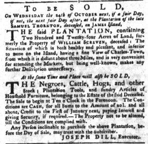 Oct 11 1770 - South-Carolina Gazette Slavery 1