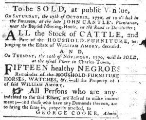 Oct 11 1770 - South-Carolina Gazette Slavery 5