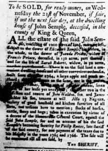 Oct 11 1770 - Virginia Gazette Rind Slavery 1
