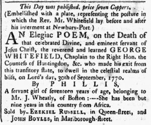 Oct 13 1770 - Massachusetts Spy Slavery 1